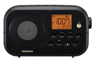 Sangean PR-D12BK AM/FM/BT portable radio with Bluetooth, Rechargeable, dual alarms.