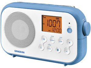 Sangean PR-D12WB AM/FM/BT portable radio with Bluetooth, Rechargeable, dual alarms.