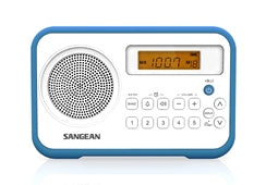 Sangean PR-D18BL AM/FM Radio, digital tune, 10 presets, clock and alarm Blue trim