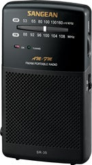 Sangean SR-35 AM/FM radio, analogue tune, battery, H/P socket Black
