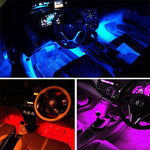 Car Fitg 4pcs 48 LED Color Changeable Music Car Interior RC Strip Light