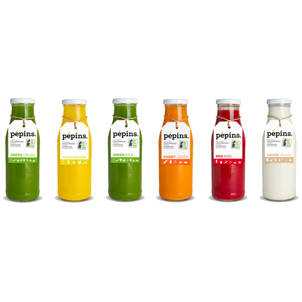 Pepins Cure 1 Juices Jus Green Crush Green Kick Tcha-Tcha-Tcha Rabbit Lover Red Kiss Almond delight