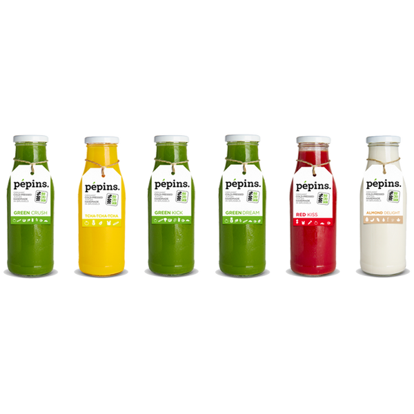 Pepins Cure 2 Juices Green Crush Green Kick Green Dream Tcha-tcha-tcha Red Kiss Almond Delight