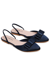 Load image into Gallery viewer, Bowie Satin Comfort Ballerina   Navy