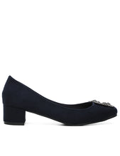 Load image into Gallery viewer, Elegant Suede Comfy Heels In Navy