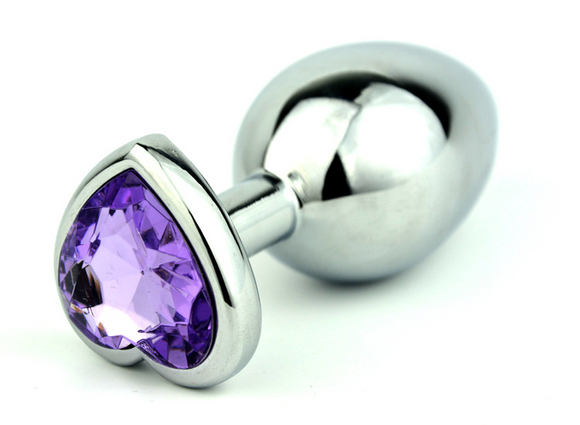 Small Purple Heart Steel Butt Plug