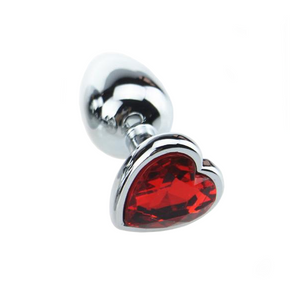 Large Rose Red Heart Steel Butt Plug
