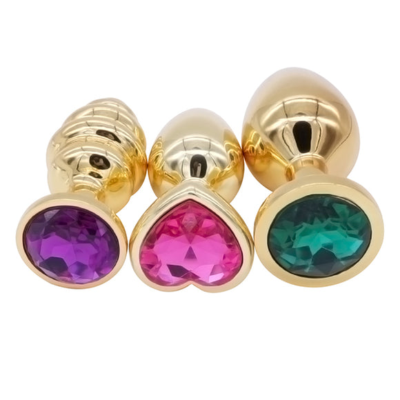 Gold Heart Steel Butt Plug Set