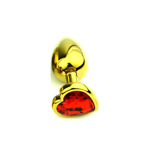 Red Ruby Golden Heart Butt Plug