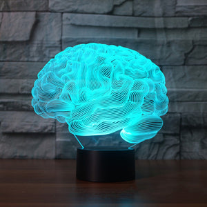 3D Illusion Brain Shape Lamp With Changing Colors