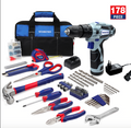 WORKPRO 12V Cordless Drill and Home Tool Kit, 178 Pieces Combo Kit with 14-inch Tool Bag