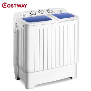 COSTWAY Portable Mini Compact Twin Tub Washing Machine 11lbs Washer Spain Spinner Portable Washing Machine, Blue+ White
