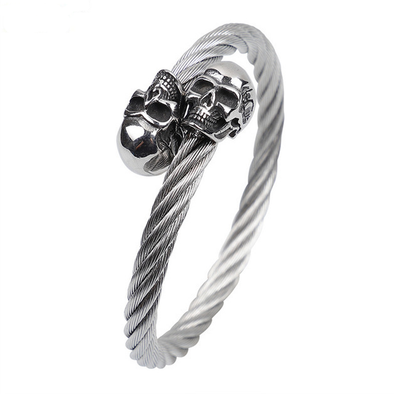 Stainless Steel Skull Bangle