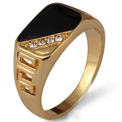 Men's Rings- Black Enamel Ring - FASHIONOPOLITAN