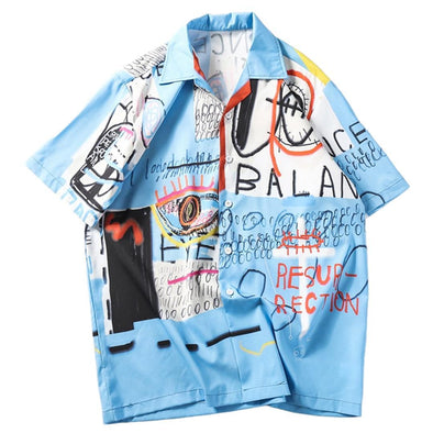 Urban Clothes Men's Urban Shirts- Hawaiian Graffiti Shirt - FASHIONOPOLITAN