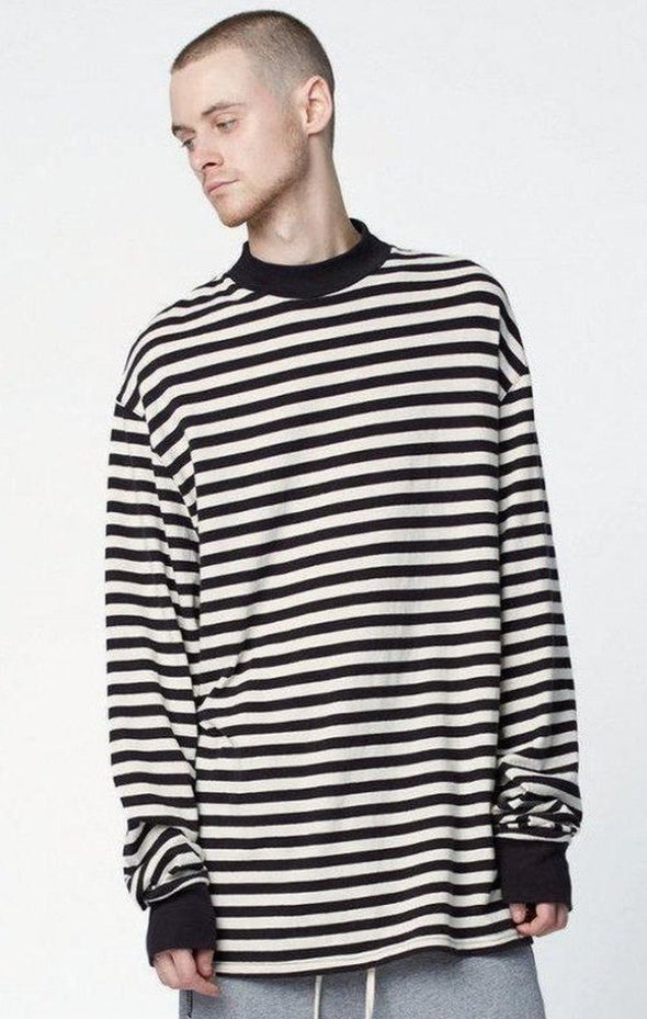 Urban Clothes Men's Long Sleeve Shirts- Oversized Stripe Long Sleeve - FASHIONOPOLITAN
