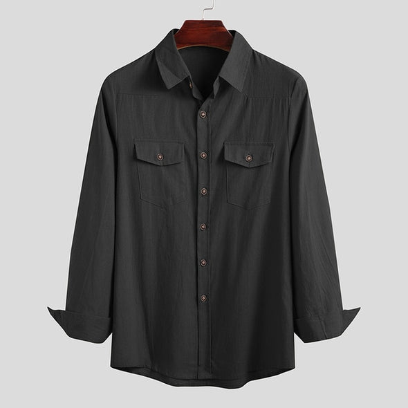 Leisure Solid Color Camisa Men Vintage Pockets Shirts Loose Cotton Blusa Long Sleeve Lapel Chemise Breathable Blouse 3XL INCERUN