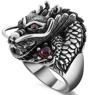 Men's Rings- Sterling Silver Dragon Ring - FASHIONOPOLITAN