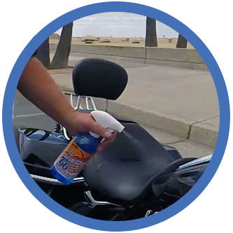 Step 1-spray waterless motorcycle cleaner on surface you need to clean