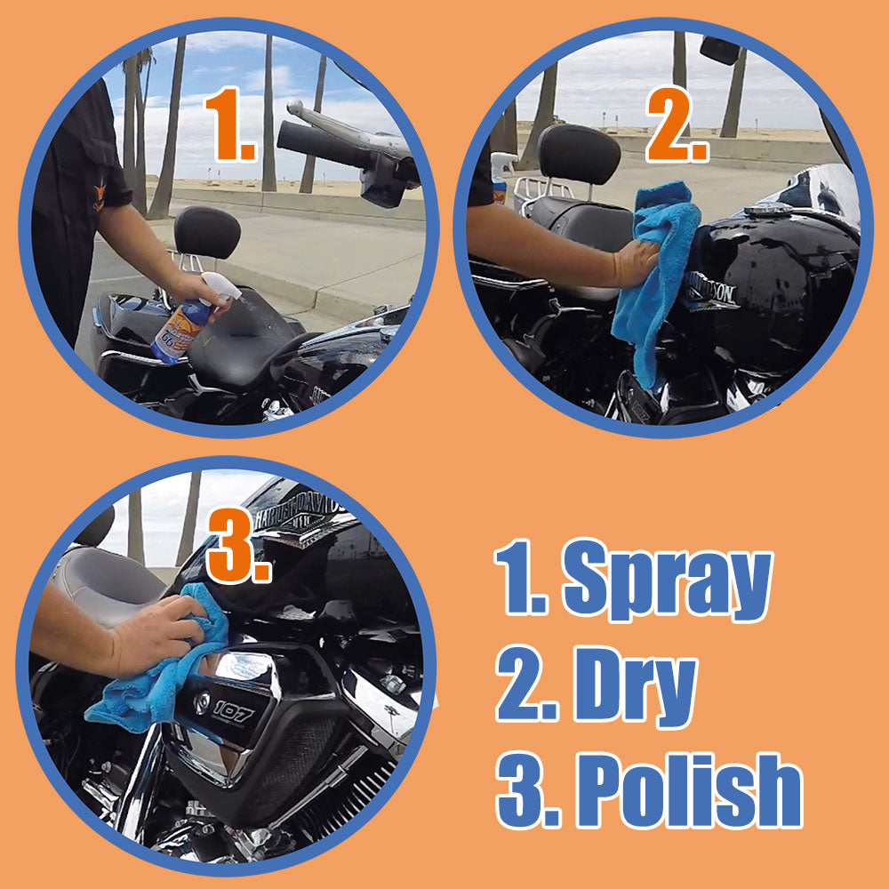 Motorcycle cleaner Wash&Shine 66 waterless bike wash quick detailer wash&wax cleaning kit M - 2x16.9 oz + 2 FREE Towel