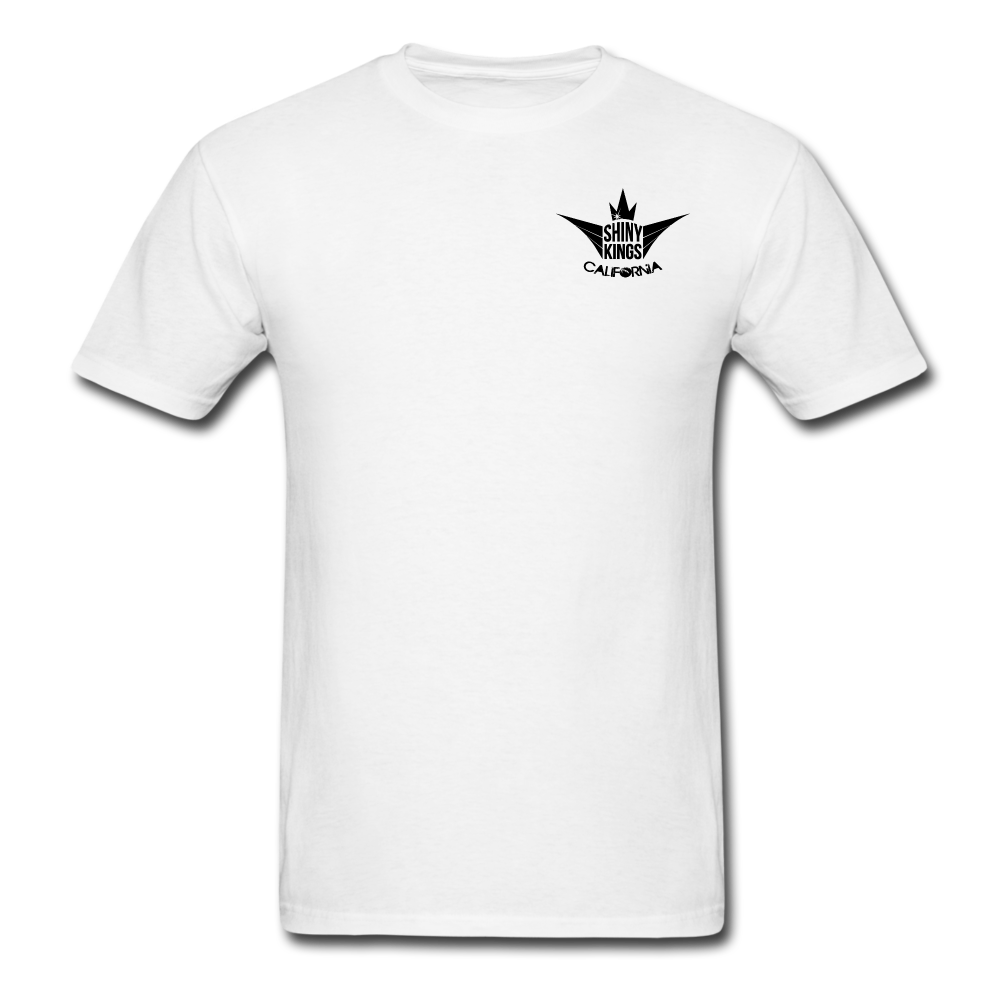 Men's T-Shirt round neck white with black label - white