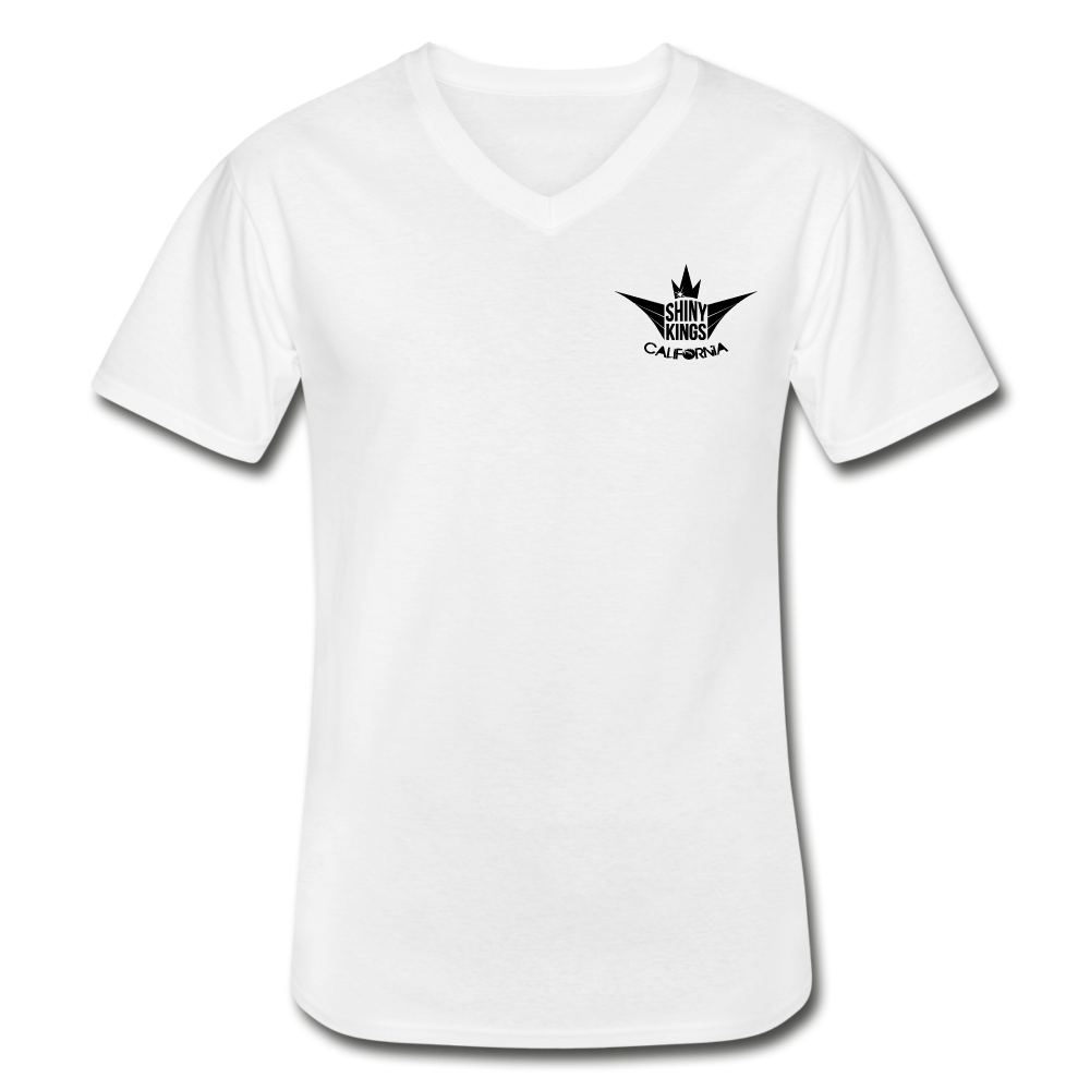 Men's V-Neck T-Shirt white with black label - white