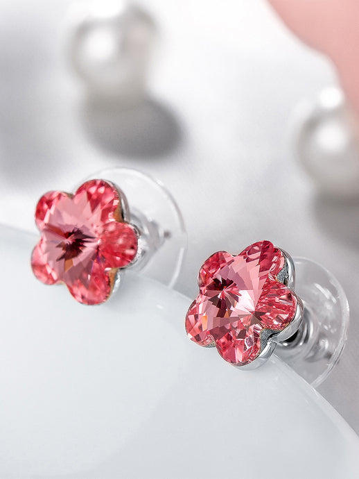 Pink Swarovski Collection Floral Studs