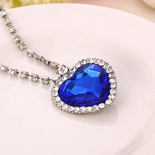 The Blue Ocean Heart Austrian Crystal Pendant with Studded Chain for Girls
