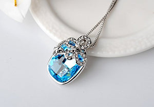 Silver Butterfly Blue Austrian Crystal Pendant with Studded Chain for Girls and Women
