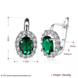 Stylish Green Crystals Clip On Studs Earrings