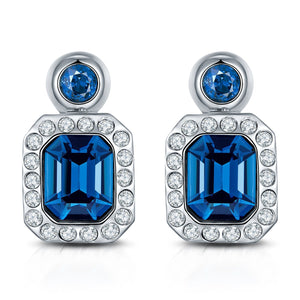 Classic Blue Royal Crystal Earrings for Women and Girls