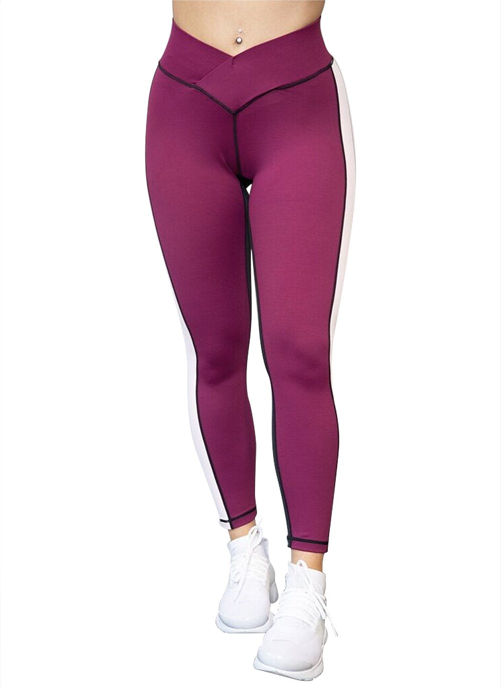 Gym Leggings - Berry & Black - by Bon Bon x