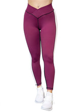 Load image into Gallery viewer, Gym Leggings - Berry & Black - BBx FITNESS