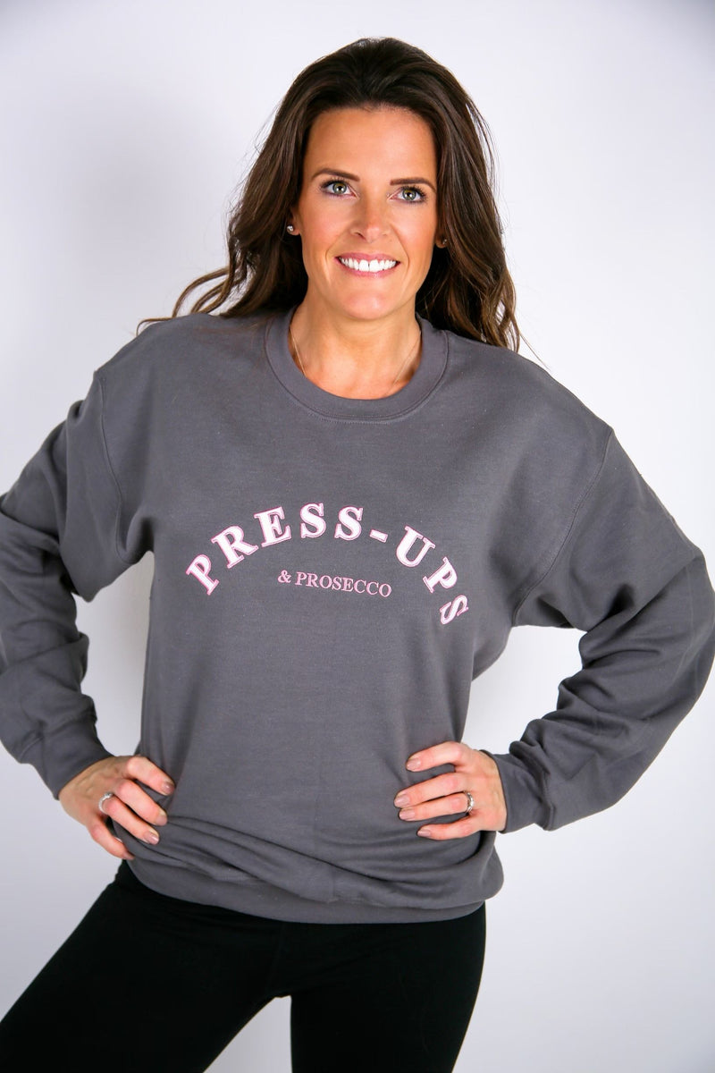 Press Ups & Prosecco Embroidered Sweater - BBx FITNESS
