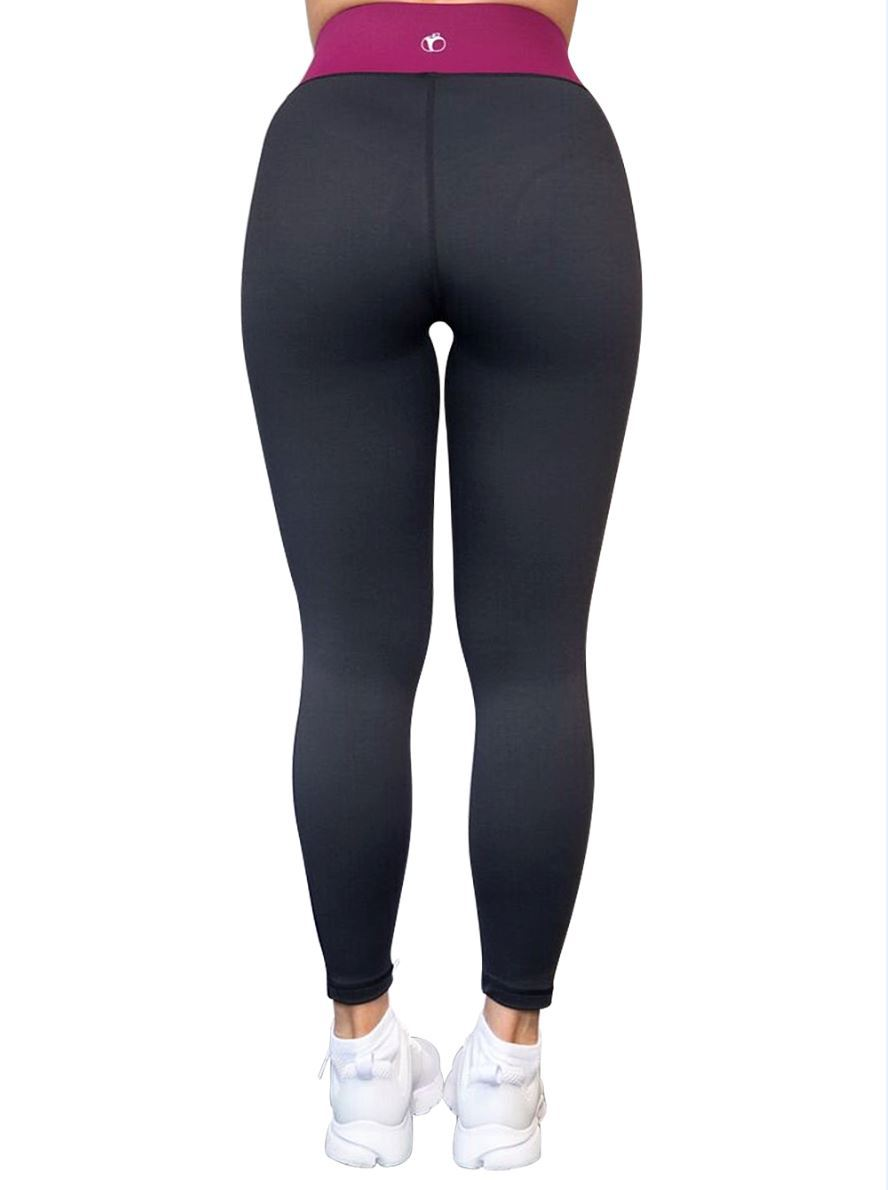 Gym Leggings - Berry & Black - BBx FITNESS