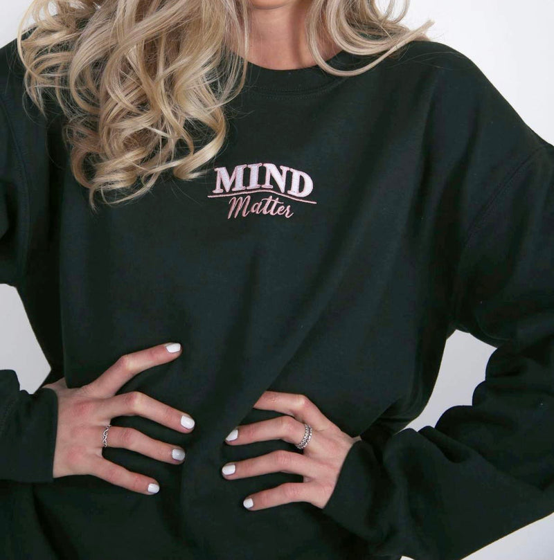 Mind Over Matter Forest Green Embroidered Sweater - by Bon Bon x