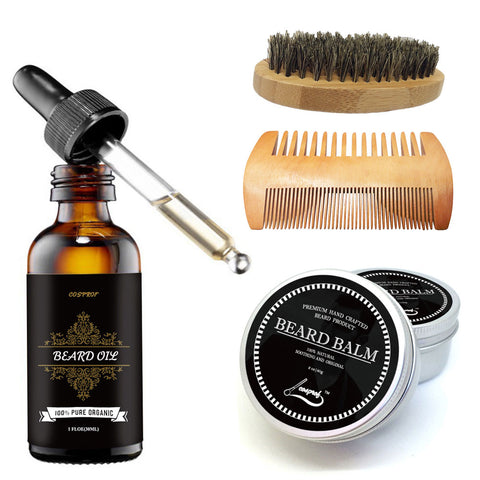 Cosprof Beard Oil, Balm, Brush and Comb Kit Set for Men Beard Care‎