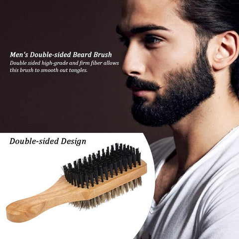 Double-sided Wood Handle Beard Brush