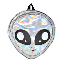 Load image into Gallery viewer, Alien Head Backpack Silver, Front | Pakapalooza