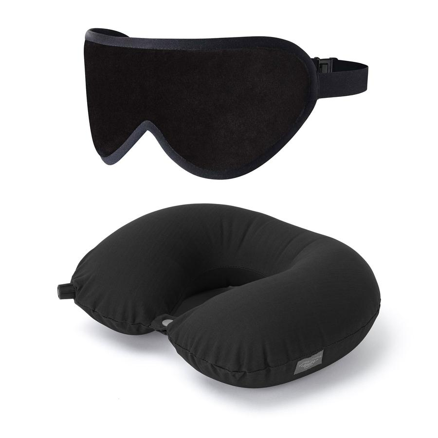 Luxury Sleep Mask & Travel Pillow Set in Black