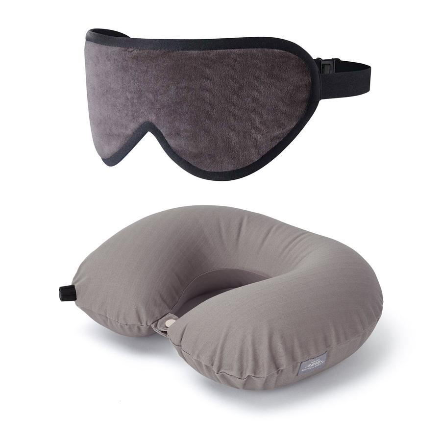 Luxury Sleep Mask & Travel Pillow Set in Grey/Taupe