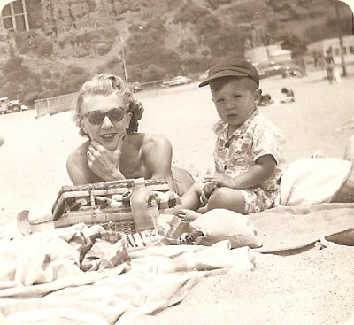 1950 with my mom at Santa Monica Beach