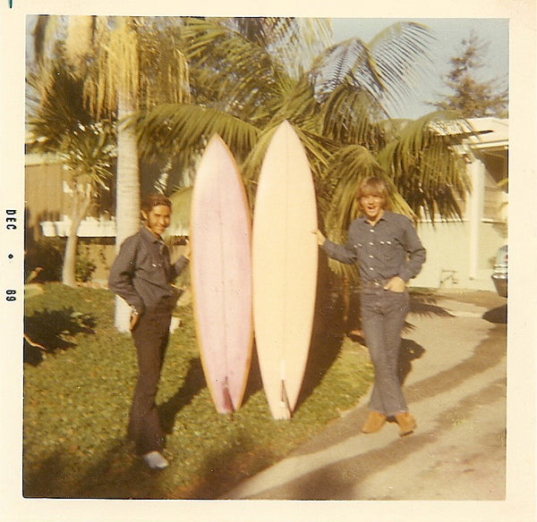 Victor Torres and Michel with single fin equipment in 1969
