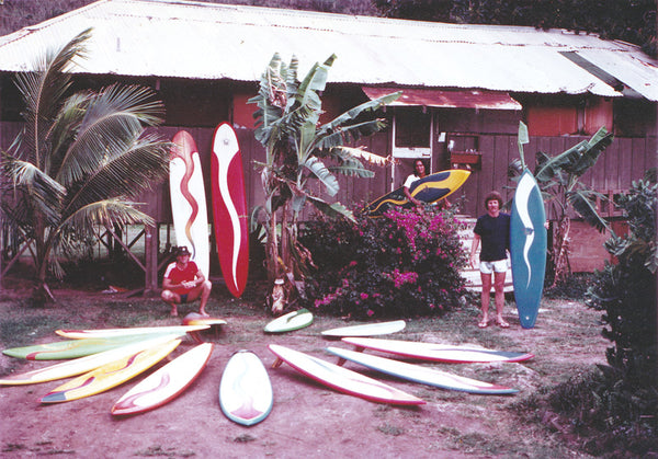 Single fins outside our Sunset Beach glass shop