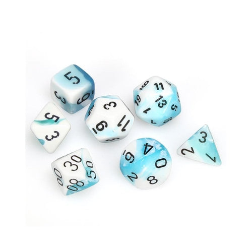 Gemini Teal-White w/ Black 7 Dice Set
