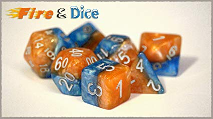 Halfsies 7 Dice Set: Fire & Dice