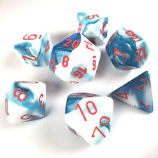 Gemini Astral Blue-White w/ Red 7 Dice Set