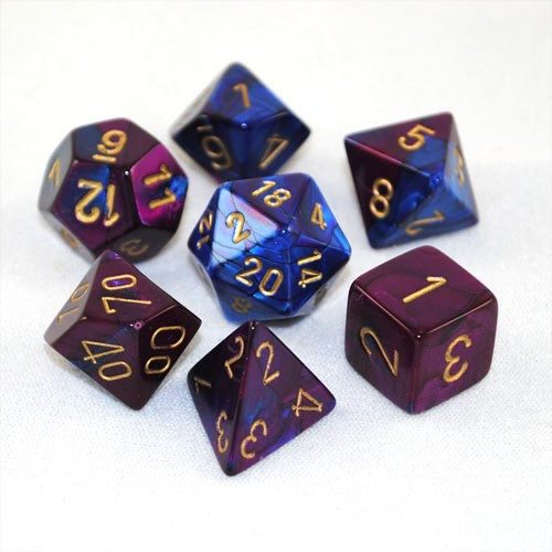 Gemini Blue-Purple w/ Gold 7 Dice Set
