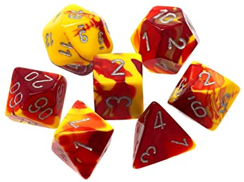 Gemini Red-Yellow w/ Silver 7 Dice Set