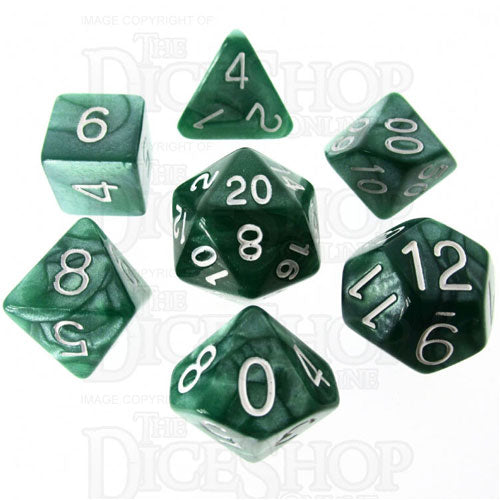 Marble 7 Dice Set: Green